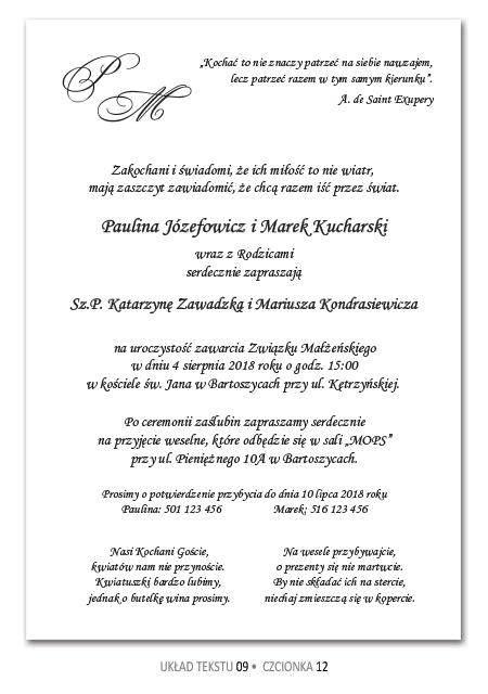 Zaproszenia Slubne Teksty Quotes Wedding Personalized Items