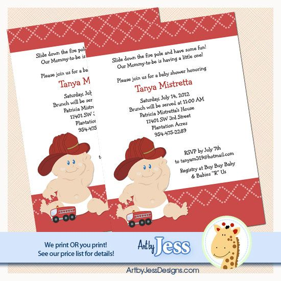 Baby Fire Fighter Fireman Baby Shower Invitations Personalized