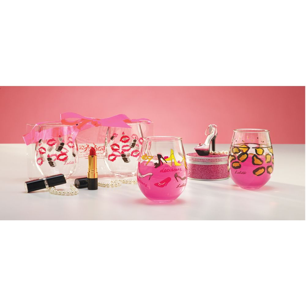 New stemless acrylic wine drinkware sets from Lolita.