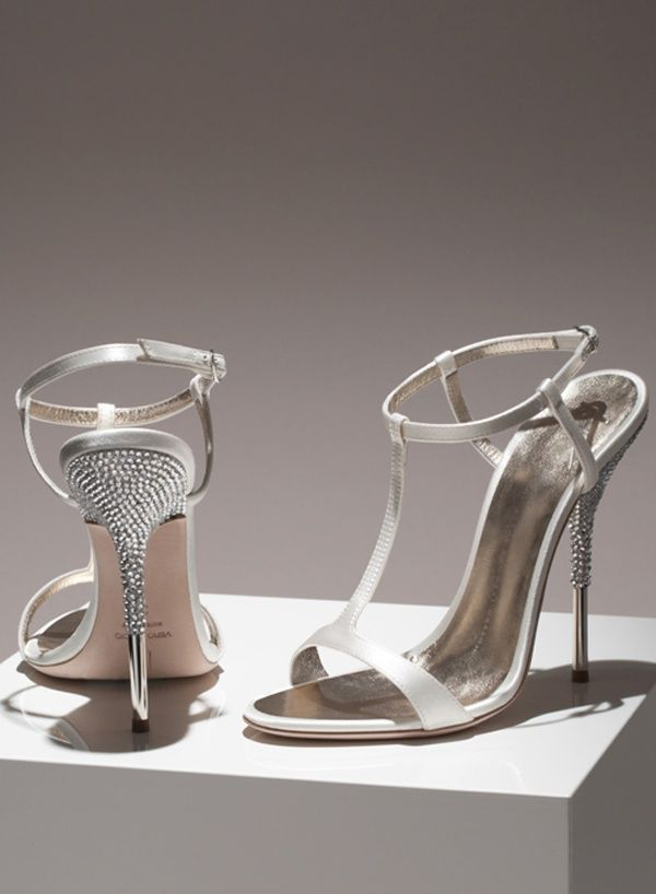 This Type Of Giuseppe Zanotti Ivory White High Heeled Shoes Is Made By  Satin With