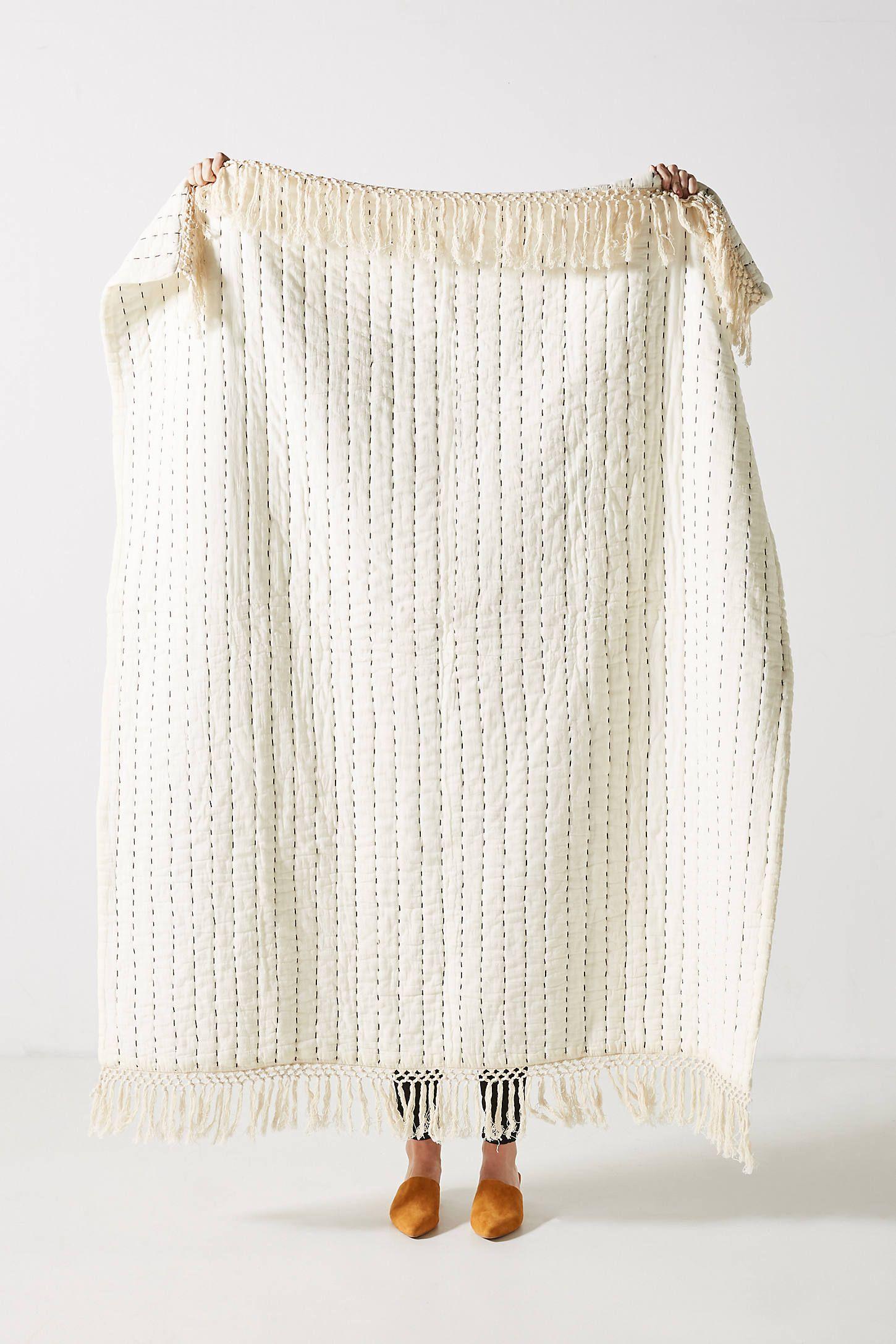 Kantha Stitched Nevin Throw Blanket In 2020 Kantha Stitch Blanket