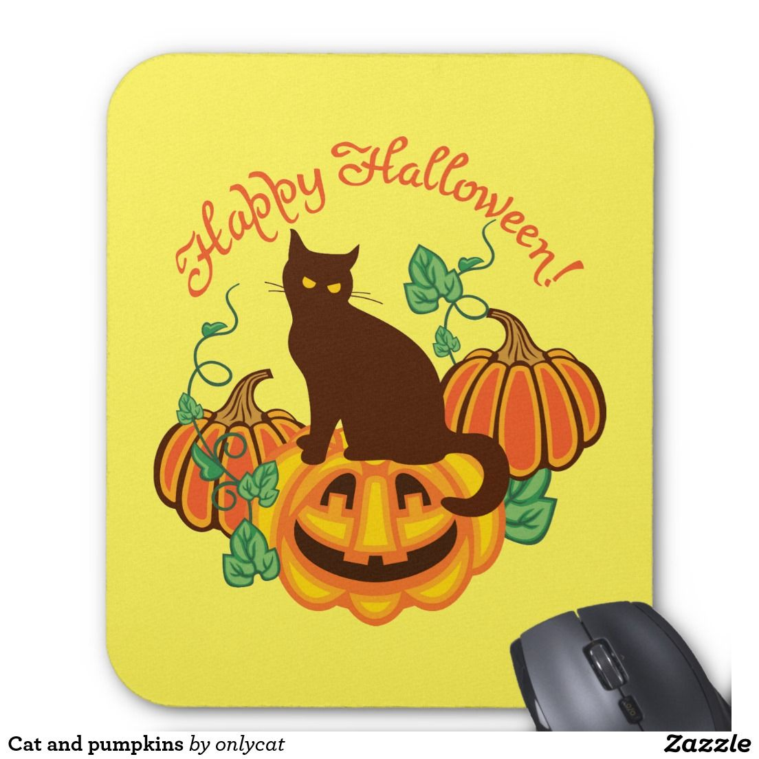 Cat and pumpkins mouse pad