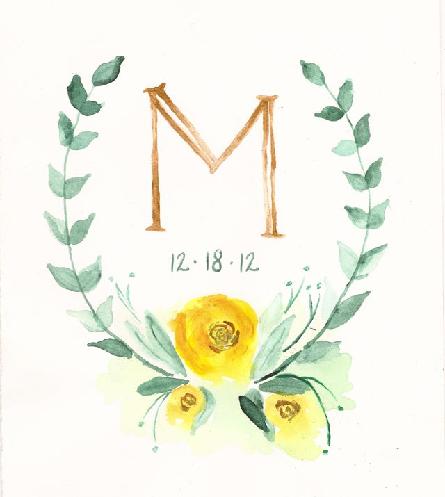 Inspired by this watercolor monogram. A future DIY, hopefully. hello…