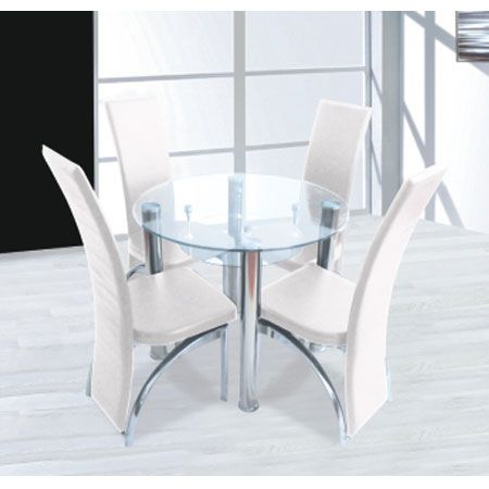 Compact Round Clear Glass Dining Set 4 Dining Cream Chairs