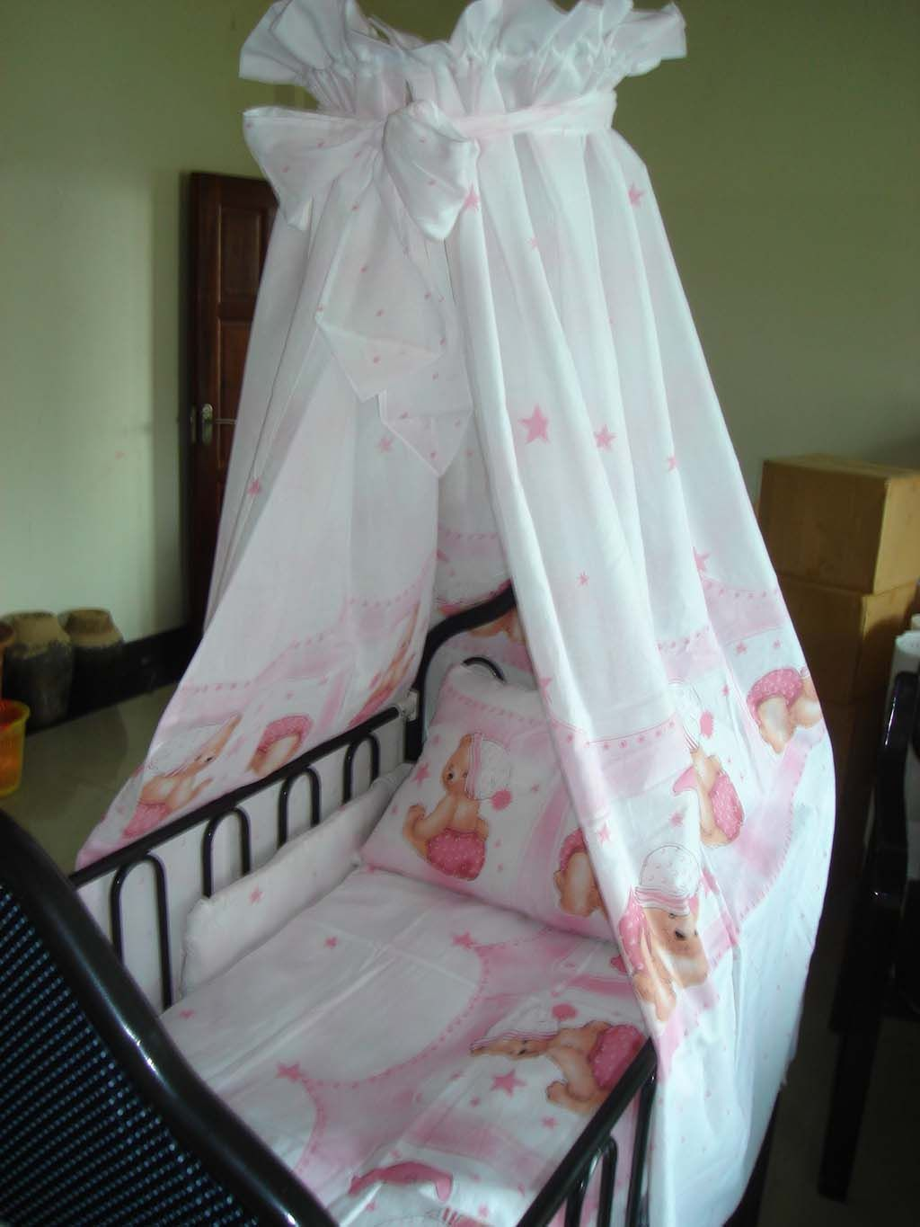 Black Metal Baby Crib with Cute Bear Pattern Bedding Accessories and Soft White Curtain Decorating for Baby Nursery Crib Decorating with Canopy & crib canopy | Crib Canopy - China Infant Crib | Nursery Ideas ...