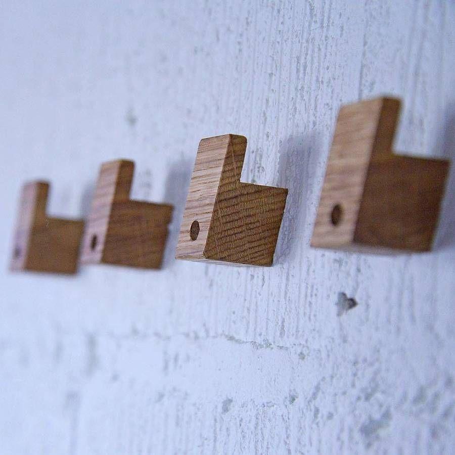 A Set Of Four Wooden Coat Hooks Modern Coat Hooks Coat