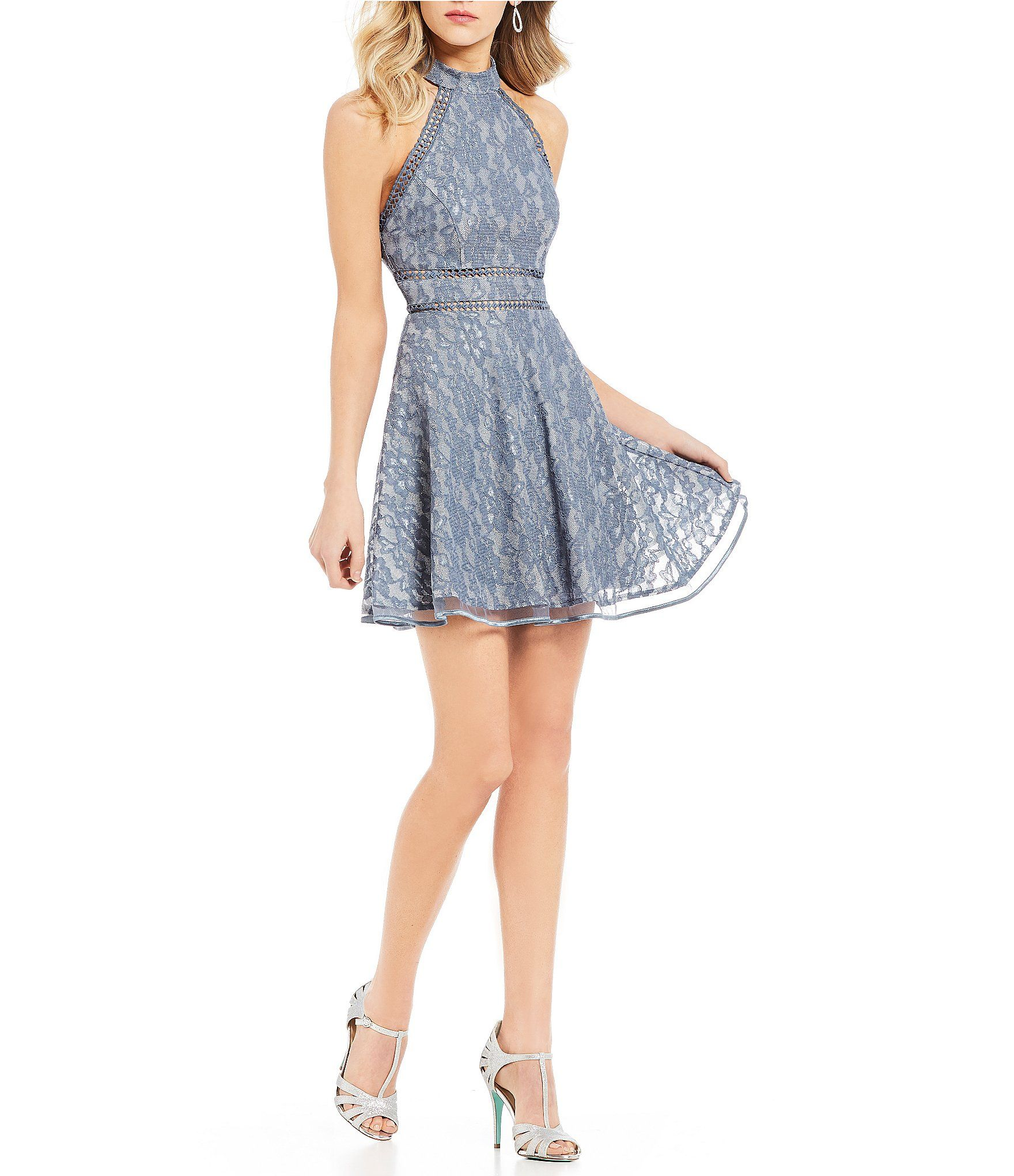 5baf7b28e5 Shop for Jodi Kristopher Foiled Lace Fit-And-Flare Dress at Dillards ...