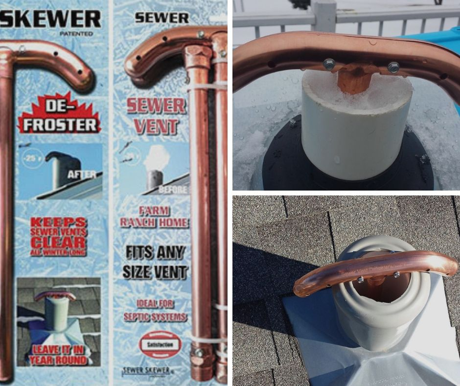 The Sewer Skewer Has Ability To Clear Ice Build Up In Vent Pipes And Really It Is Complete Solution Of Your Frozen Sewer Vent Probl With Images Vented Sewer House Vents