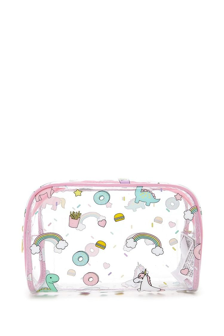 fe13c48969c0 A clear makeup bag featuring a mixed print of unicorns