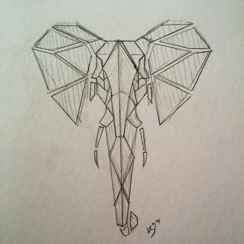Geometric Elephant. Tattoo design. LS9 original sketch.