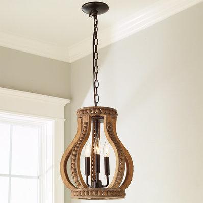 Boho Wood Beaded Pendant Large Lighting In 2019 Lantern Chandelier Small Pendant Lights Lanterns Decor