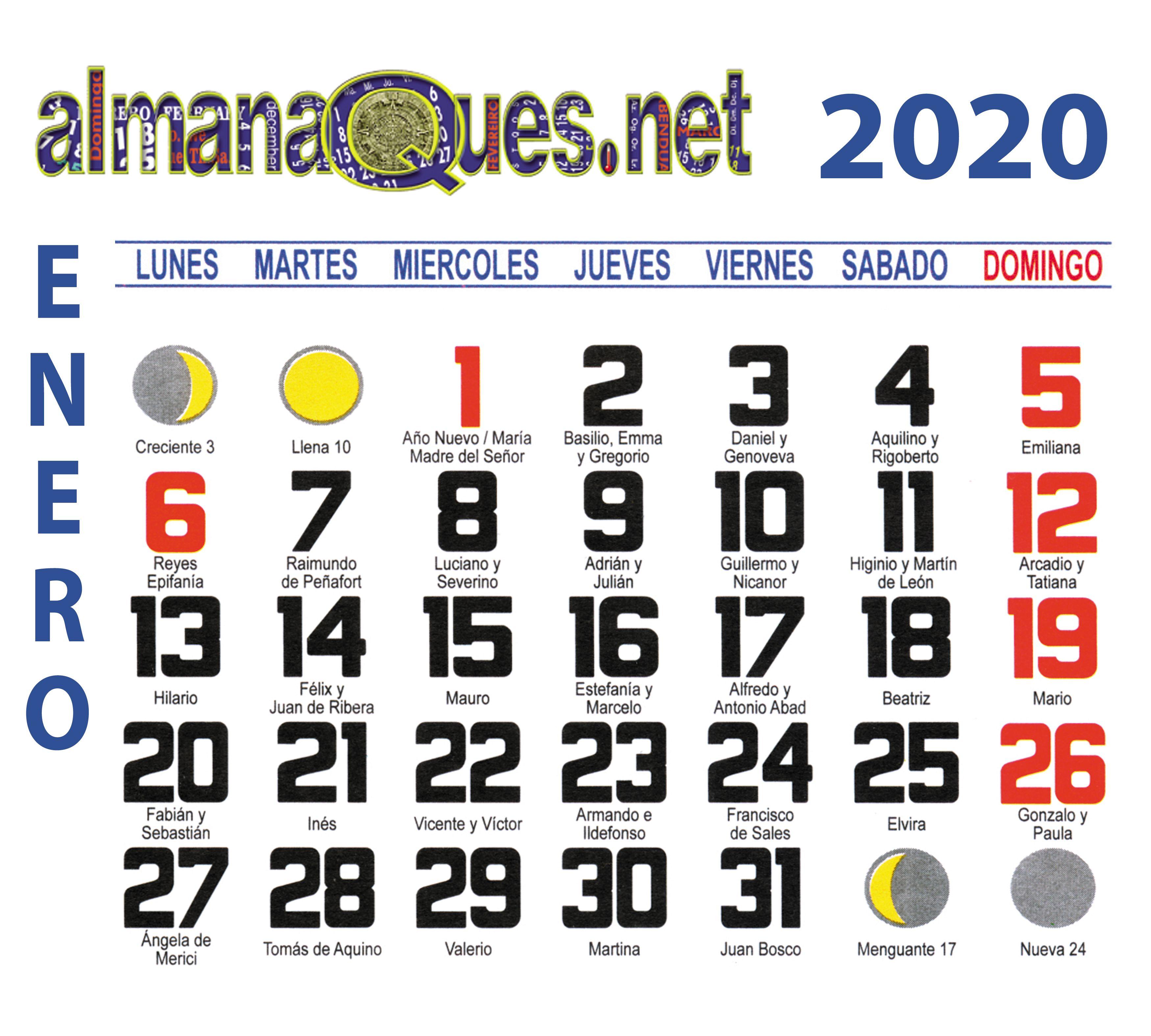 Calendario 2020 Con Santoral Y Lunas Santoral Calendario Con Santoral Calendario