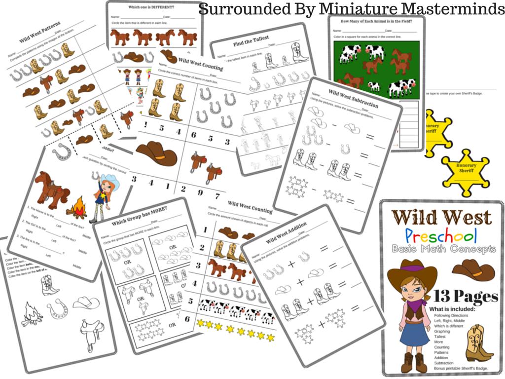 Wild West Preschool Basic Math Concepts Free 13 Page