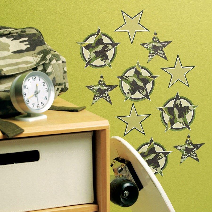 Wallies Camo Stars Wallpaper Cutouts - 12238 | Classic Crib in ...