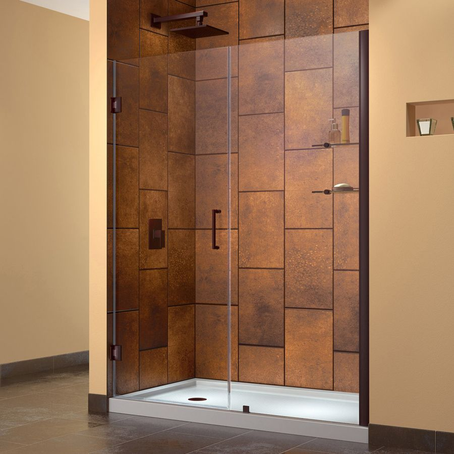 Unidoor 59 In To 60 In Frameless Oil Rubbed Bronze Hinged Shower