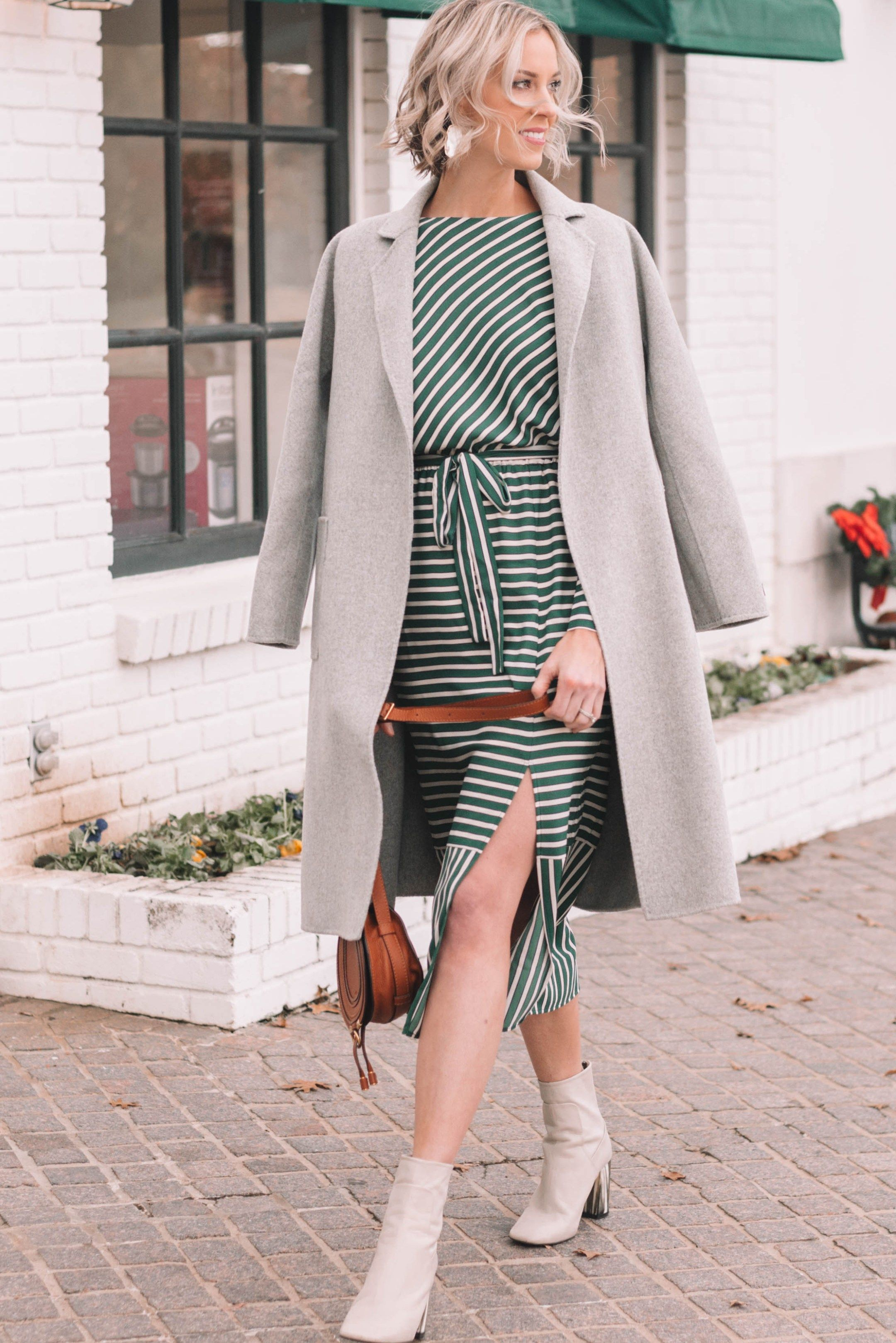 Classic Cashmere Wool Coat Styled Over A Midi Dress And Boots For Winter Fashion Midi Dress Winter Outfits [ 3236 x 2160 Pixel ]