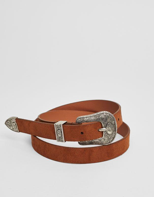 Pull Bear - mujer - accesorios - cinturones - cinturón básico western -  cuero - 05872314-V2017 8b0bb03b541f