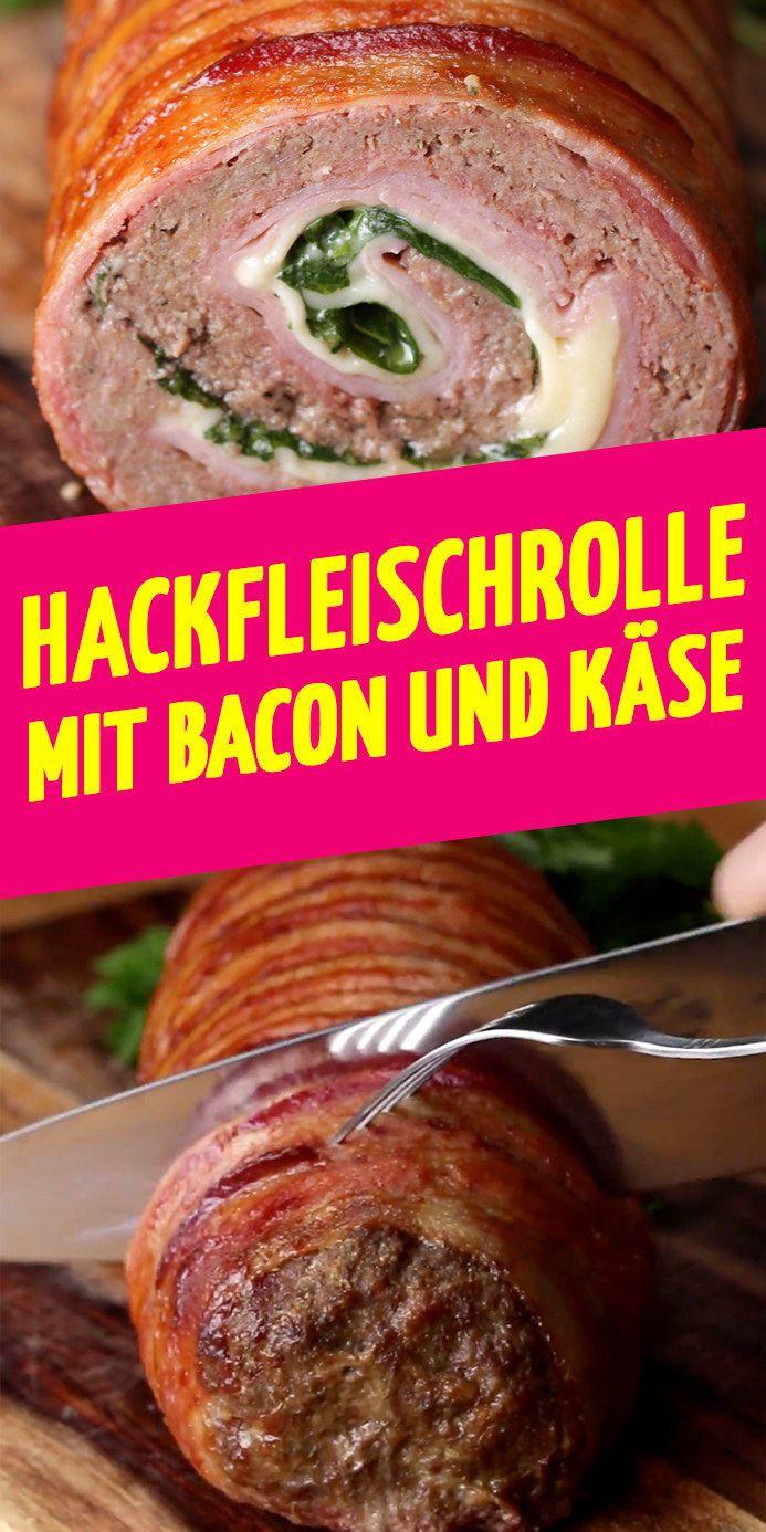 Bist du bereit für diese Hackfleisch-Rolle mit Schinken, Bacon und Käse? #meatfood