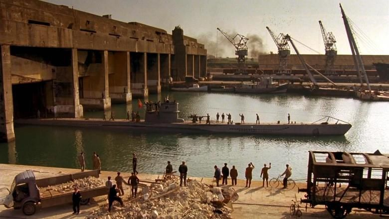 Production still from Das Boot, U-96 leaves the pens in La Rochelle
