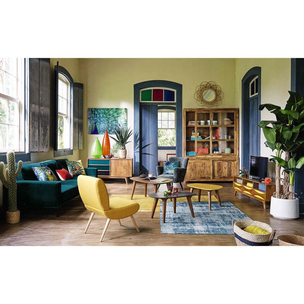 Anrichte Im Vintage Stil Aus Mangoholz B 127 Cm Blau Janeiro Maisons Du Monde Flat Decor Coffee Table Vintage Yellow Armchair