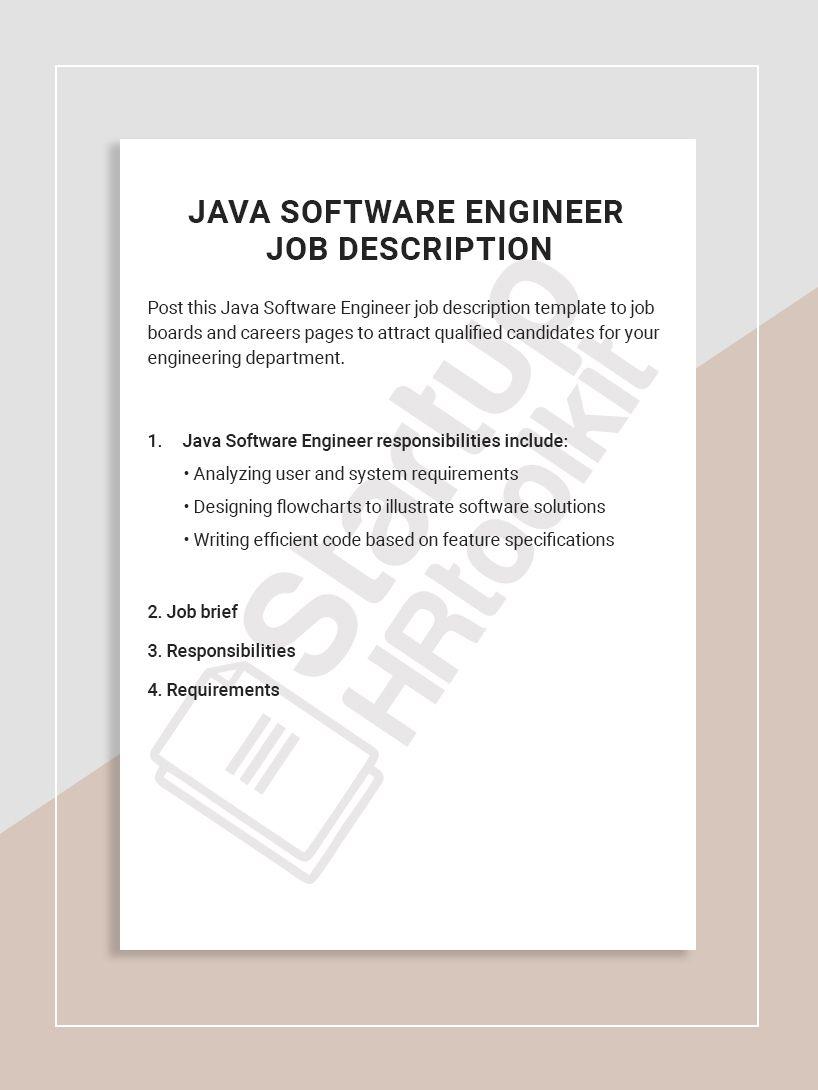 Post this Java Software Engineer job description template