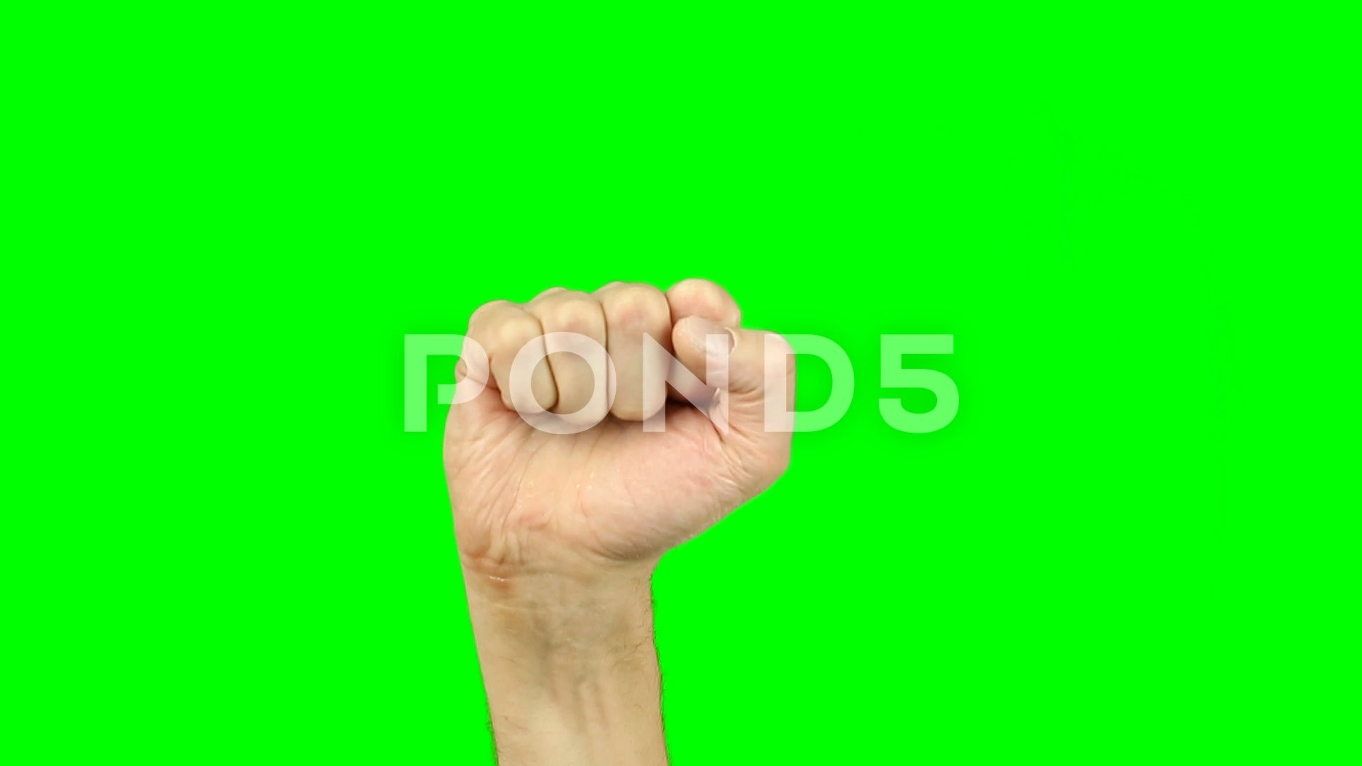 rising fist sign gesture hand on green screen stock footage sign