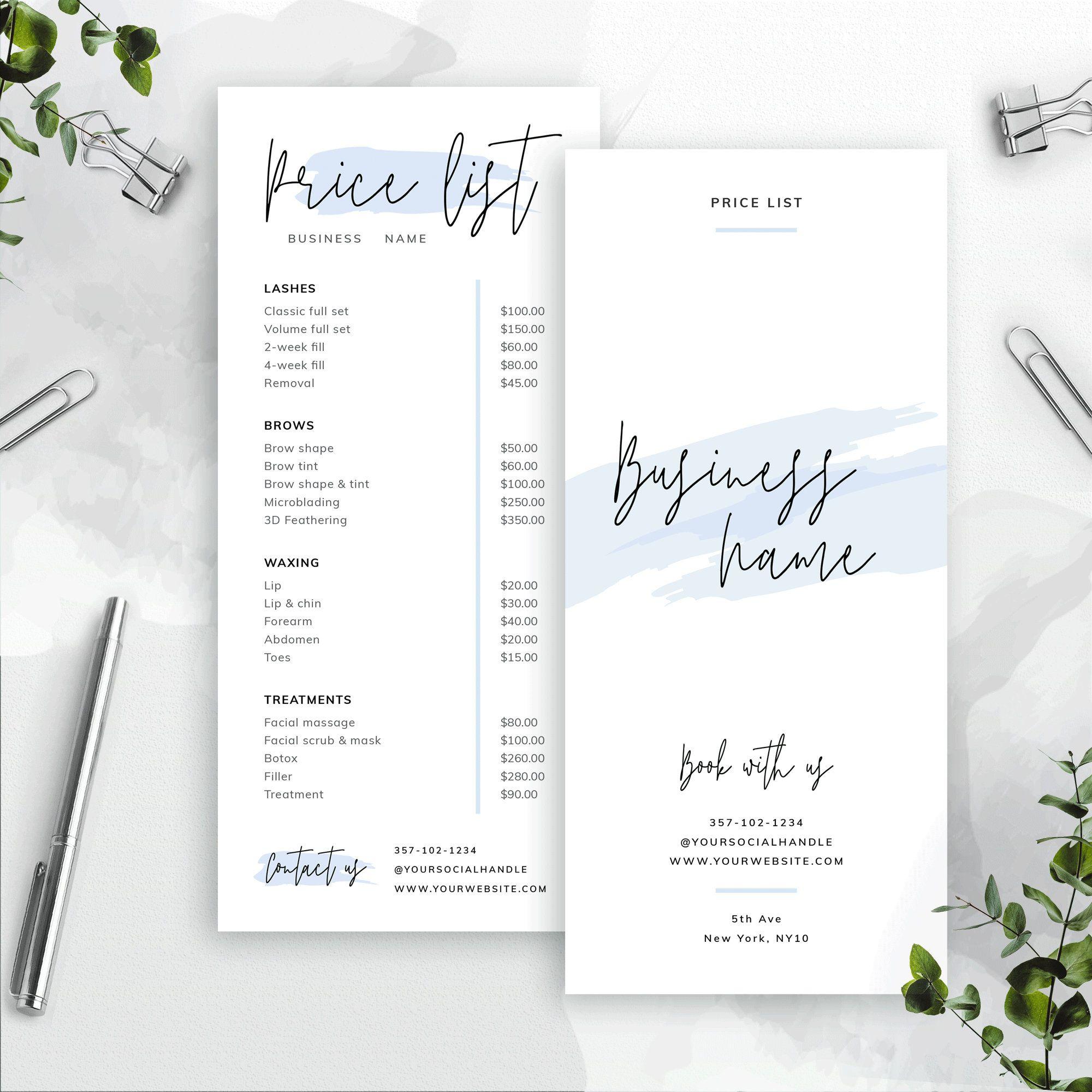 Editable Price List Template Custom Menu Design Printable Etsy In 2021 Price List Template Menu Design Menu Template