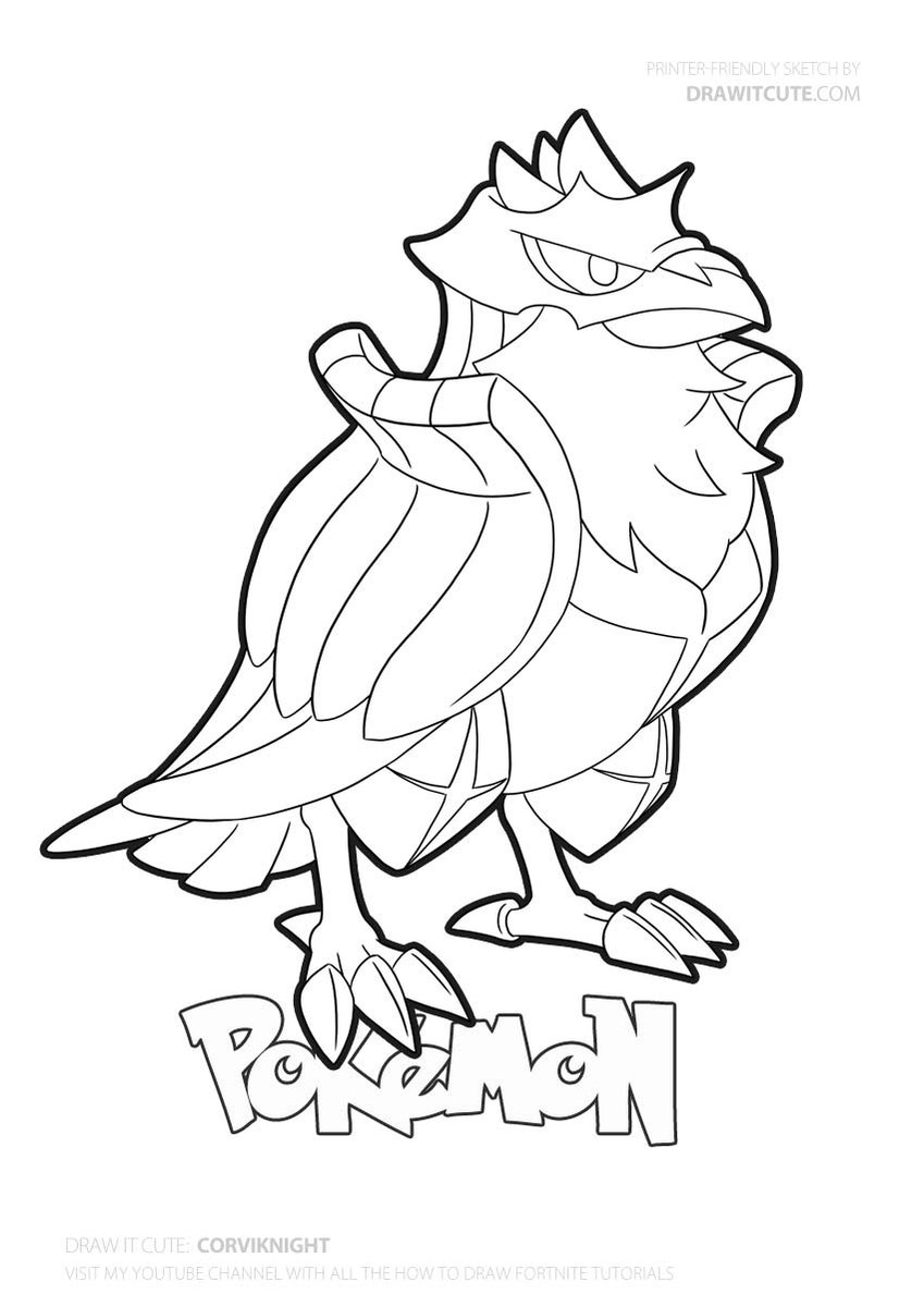 Corviknight Pokemongo Pokemon Drawitcute Howtodraw Coloringpages Fanart Pokemon Coloring Pages Coloring Pages Pokemon Coloring