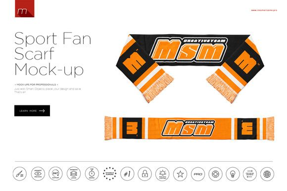 Sport Fan Scarf Mock-up by mesmeriseme pro on Creative Market