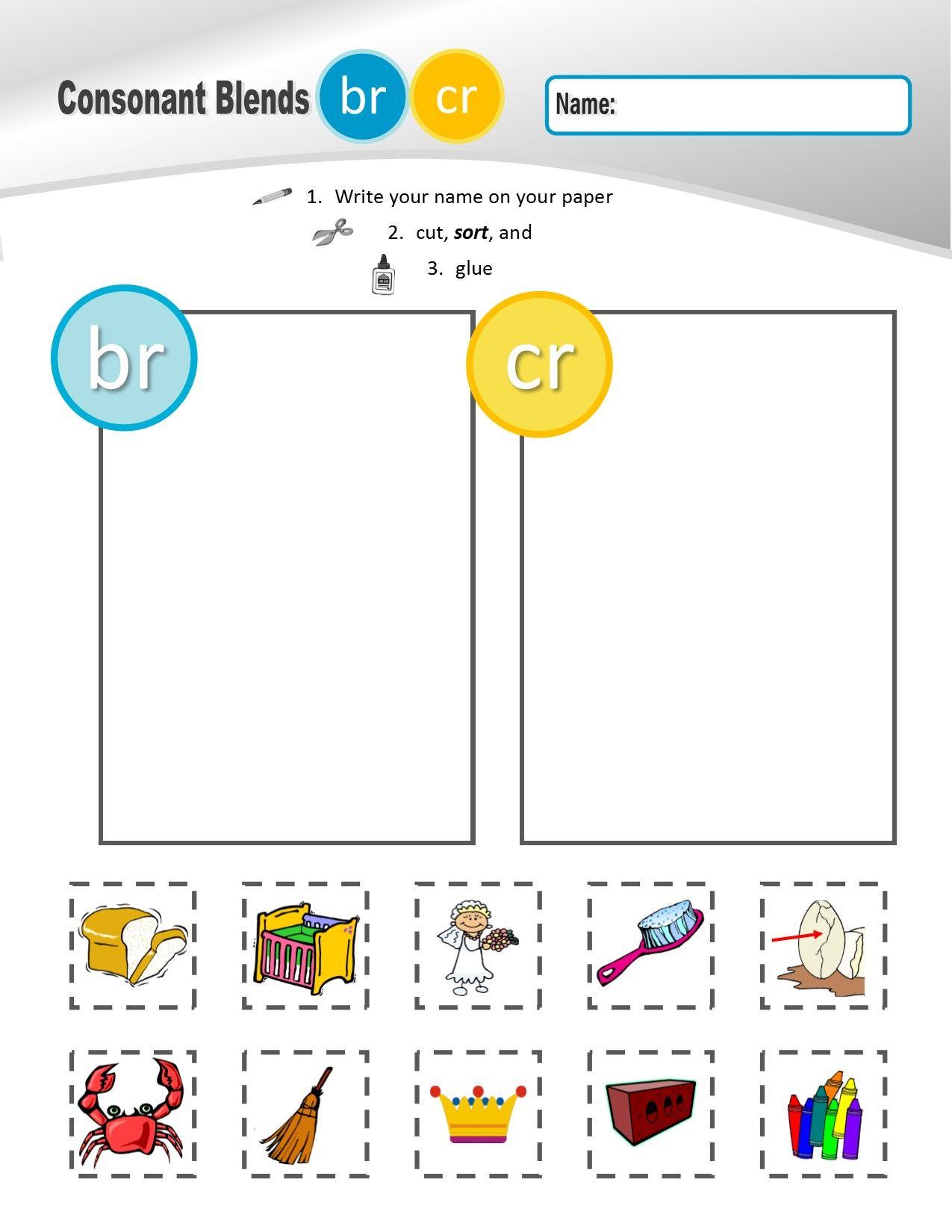 worksheet Consonant Blend Worksheets r family clusters brcrdrfrgrprtr 1 of 4 phonemic awareness consonant blends br cr dr fr gr pr tr sorting sheets