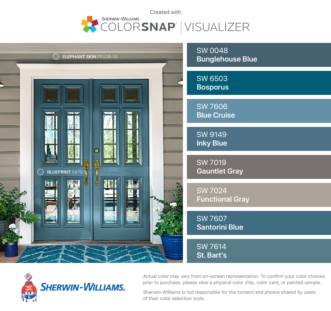 I Found These Colors With Colorsnap Visualizer For Iphone By Sherwin Williams Bunglehouse Blu Exterior Door Colors House Paint Exterior Exterior House Colors