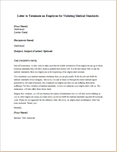 Letter To Terminate An Employee For Violating Medical Standards