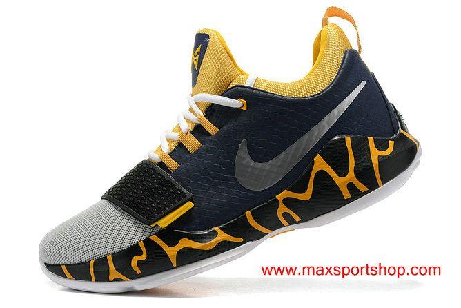 9c8db0049de8 Nike PG1 id TS Prototype EP Light Grey Dark Blue Yellow Basketball Shoes