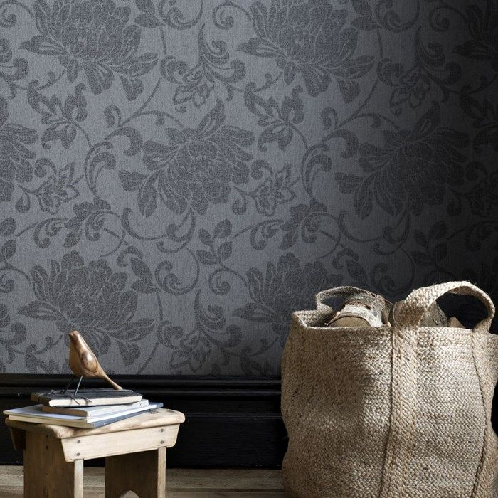 Jacquard Black Wallpaper Black Floral Wall Coverings By