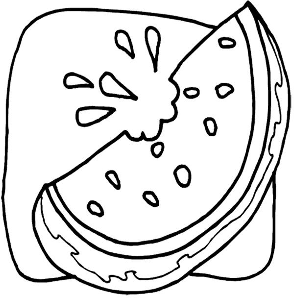 Watermelon Slice Coloring Page Coloring Pages Watermelon Slices