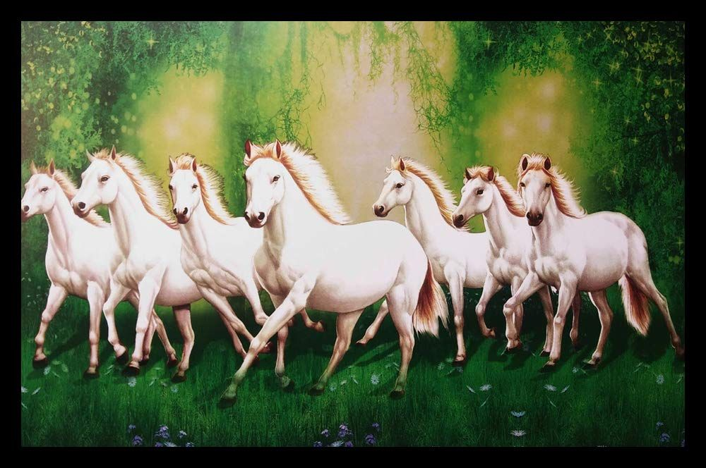 To Get Success In Jobs Business And Studies Put A Picture Of 7 Horses Running In This Direction Of Horse Canvas Painting White Horse Painting Canvas Painting