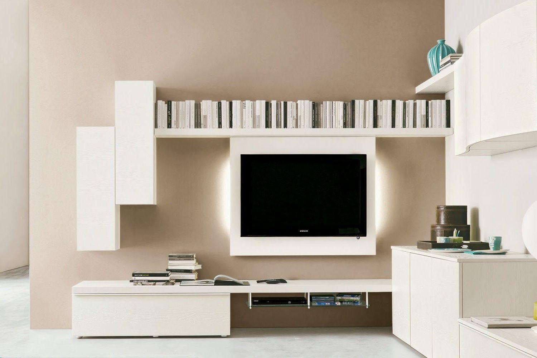 Parete attrezzata ad angolo 547 dettaglio area relax con porta tv a parete basi e pensili - Parete attrezzata ad angolo ...