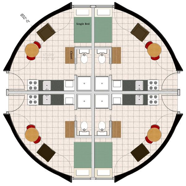 Monolithic Dome Fourplex Floorplan