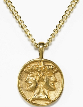 "Etruscan Double-Headed Janus Pendant: ""People have two sides. A good side and a bad side, a past, a future... and we must embrace both in someone we love."""