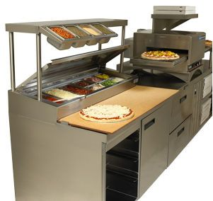 pizza prep table stainless steel on casters with storage compartment f18rc119