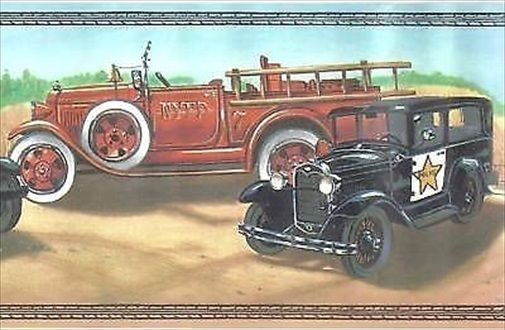 Vintage Classic Cars Automobiles At The Garage Wallpaper Border