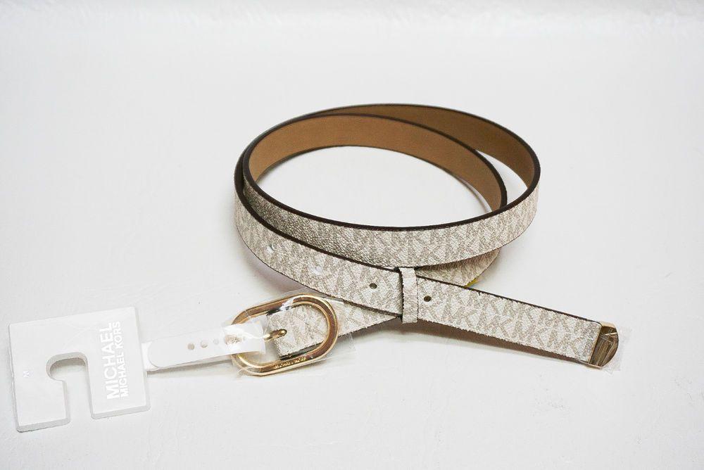 bb38f323025f Michael Kors womens 551814 MK Signature White Vanilla Faux Leather belt S M  NEW  MichaelKors  WaistBelt