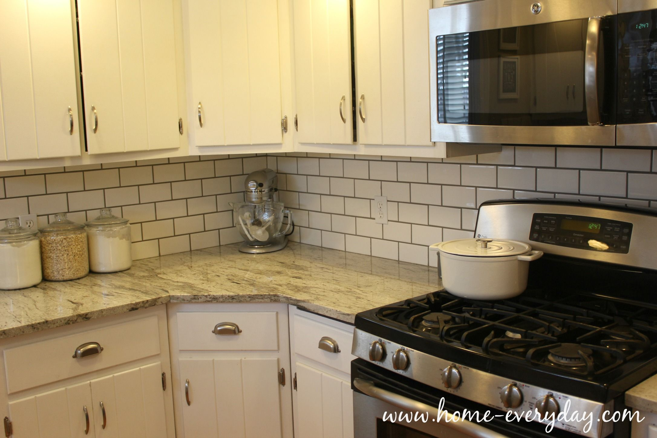 How To Install A Tile Backsplash Without Thinset Or Mastic Kitchen Backsplash Designs Kitchen Without Backsplash Kitchen Countertops Laminate
