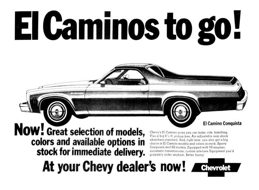 Chevrolet El Camino August 1973 Vintage Advertisements Vintage Ads Chevelle