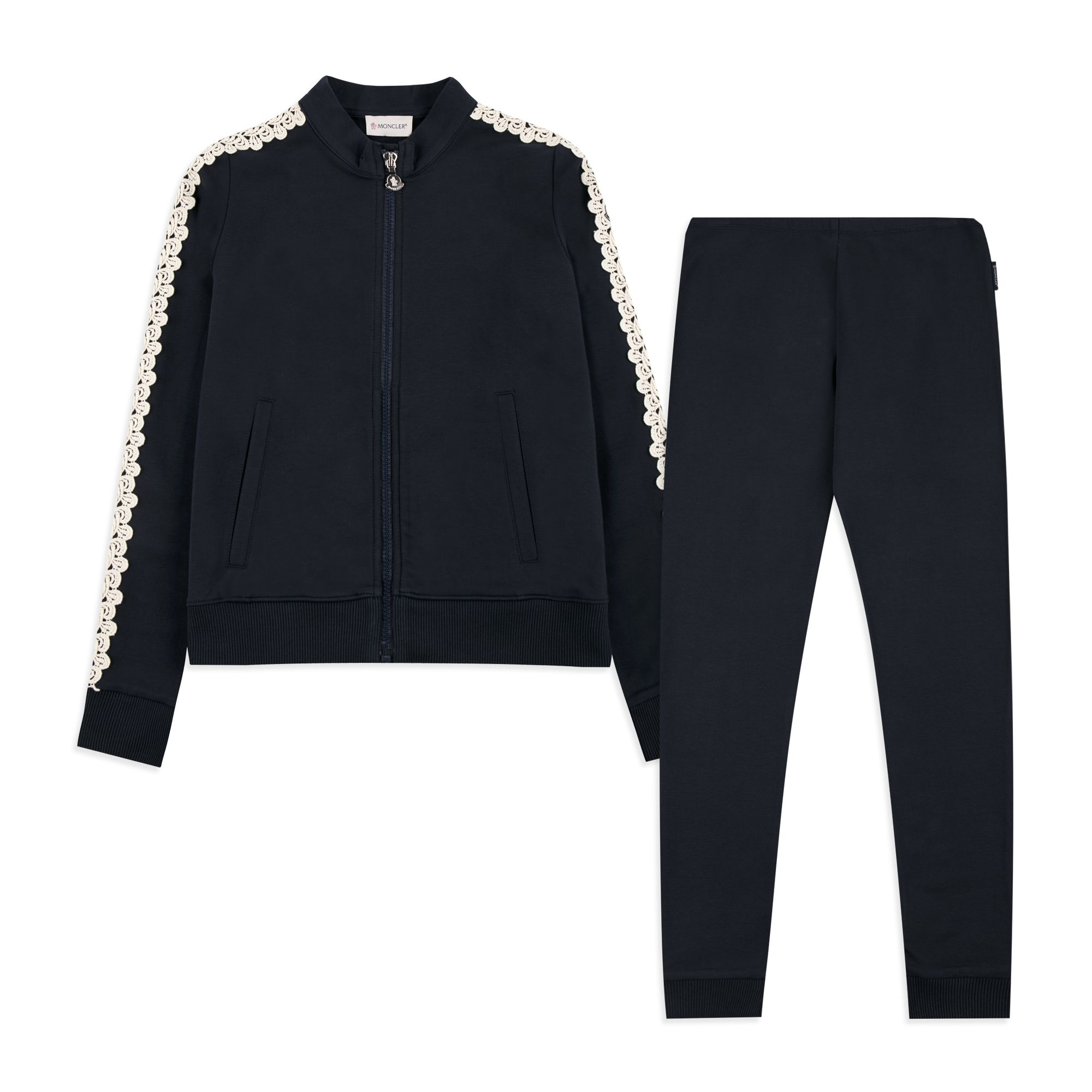 MONCLER Girls Lace Trim Tracksuit - Navy Girls jersey tracksuit • Soft  stretchy cotton • Full zip sweatshirt • Ribbed cuffs and hem • Two front  pockets ... bf7b76cf4be0