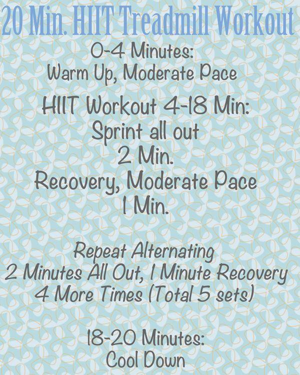 20 Minute HIIT Treadmill Workout from thefitnut.com #HIIT #treadmill #workout