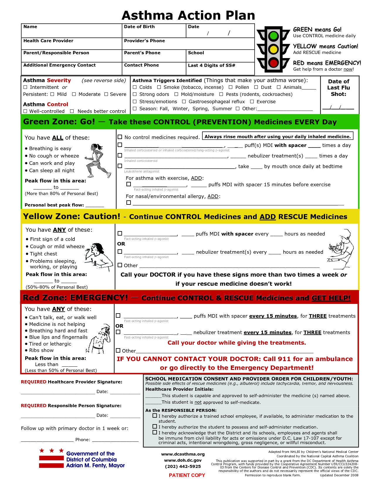 Printable Asthma Action Plan  Asthma Action Plan   Charts Of