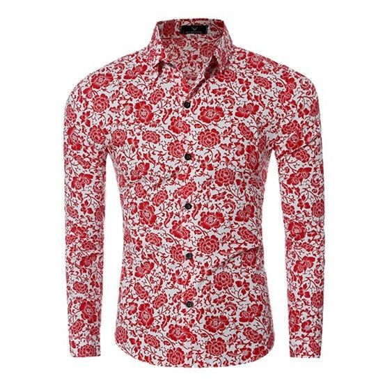 Brand Men Shirt Long Sleeve Floral Men Dress Shirt Camisa ...