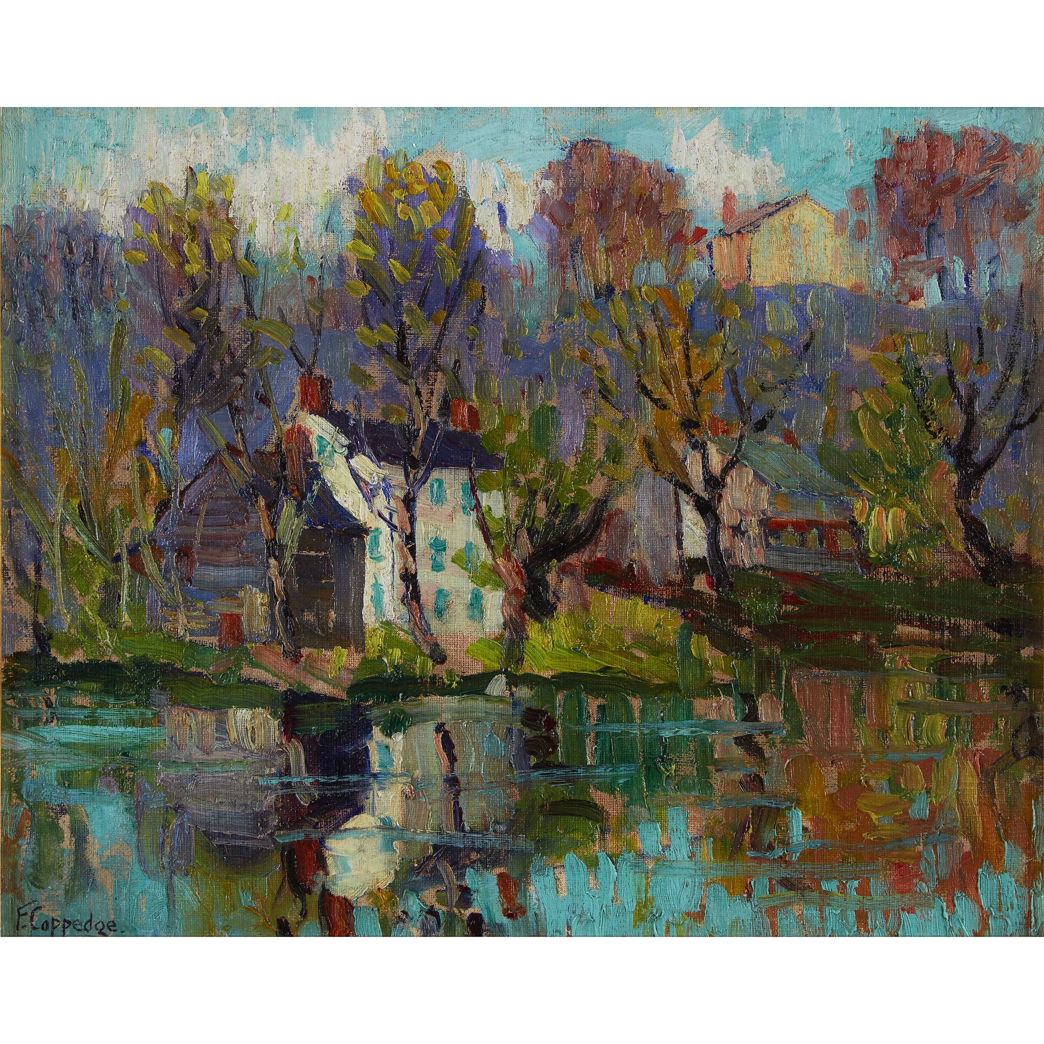 Reflections October Fern Coppedge Oil On Canvas Laid To Board 12 7 8 X 16 Private Collection Fine Art Landscape Art Pennsylvania Impressionist