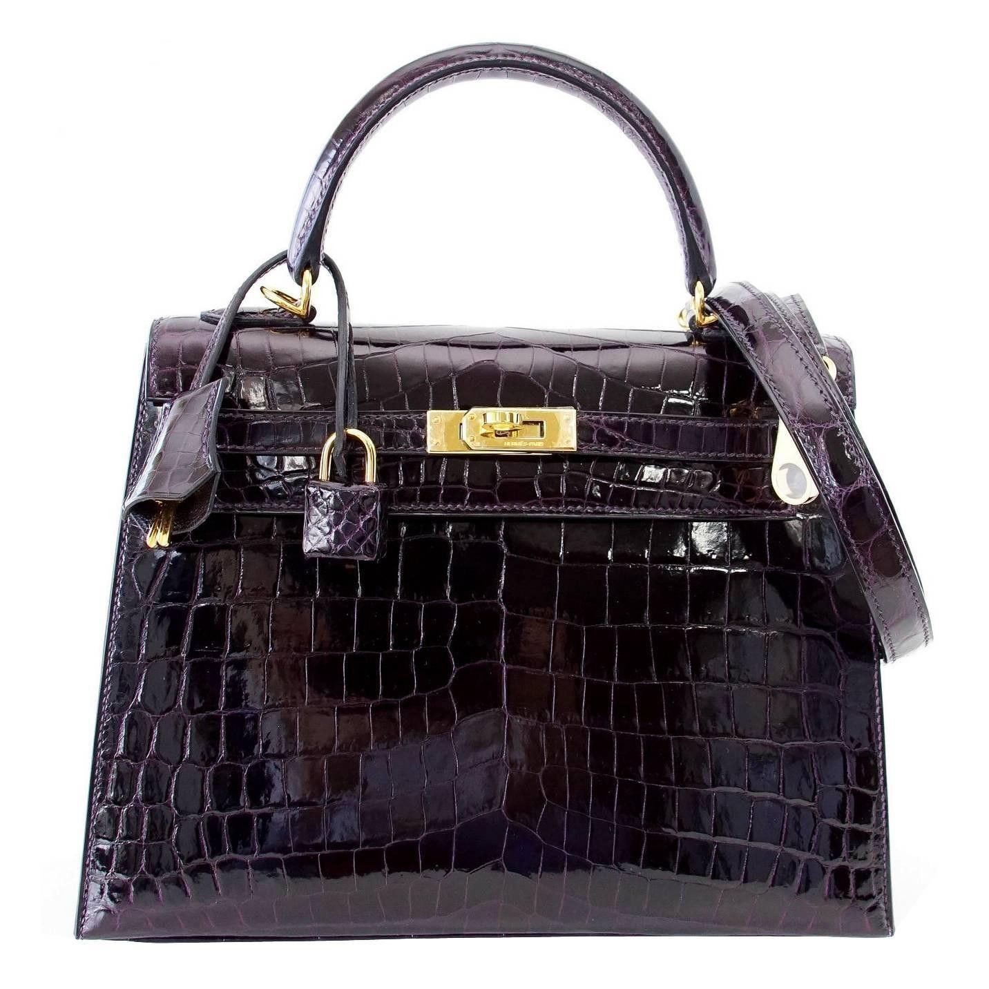 ec8616acf2 Hermes Kelly 25 Bag Sellier Crocodile Prunoir Gold Hardware in 2019 ...